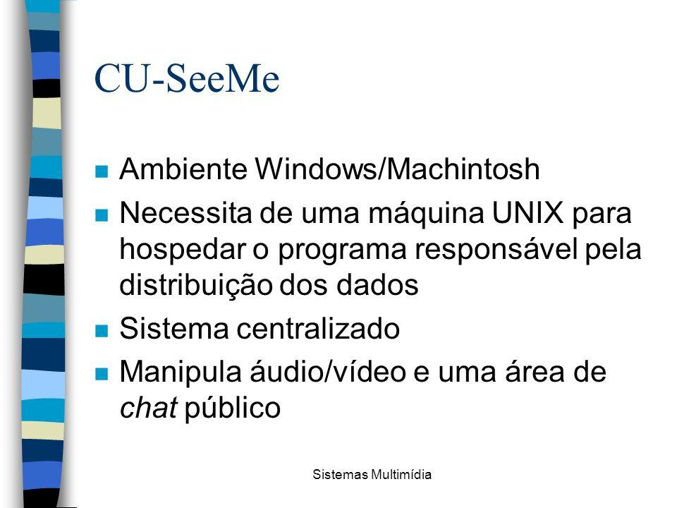 Sistemas Multimídia CU-SeeMe n Ambiente Windows/Machintosh n Necessita de uma máquina UNIX para hospedar o programa responsável pela distribuição dos
