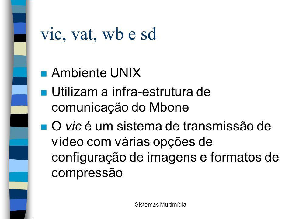 Sistemas Multimídia vic, vat, wb e sd n Ambiente UNIX n Utilizam a infra-estrutura de comunicação do Mbone n O vic é um sistema de transmissão de víde