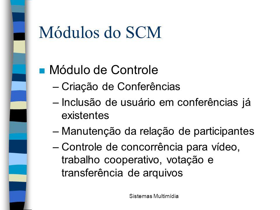 Sistemas Multimídia Módulos do SCM n Módulo de Controle –Criação de Conferências –Inclusão de usuário em conferências já existentes –Manutenção da rel