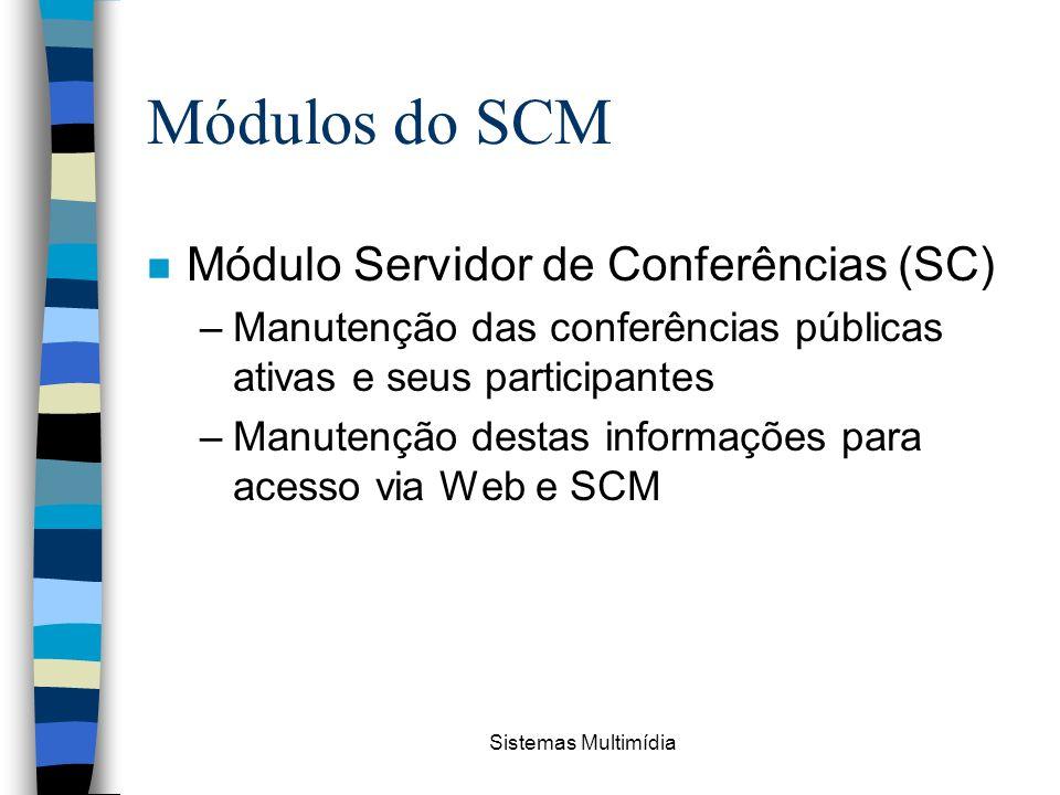 Sistemas Multimídia Módulos do SCM n Módulo Servidor de Conferências (SC) –Manutenção das conferências públicas ativas e seus participantes –Manutençã
