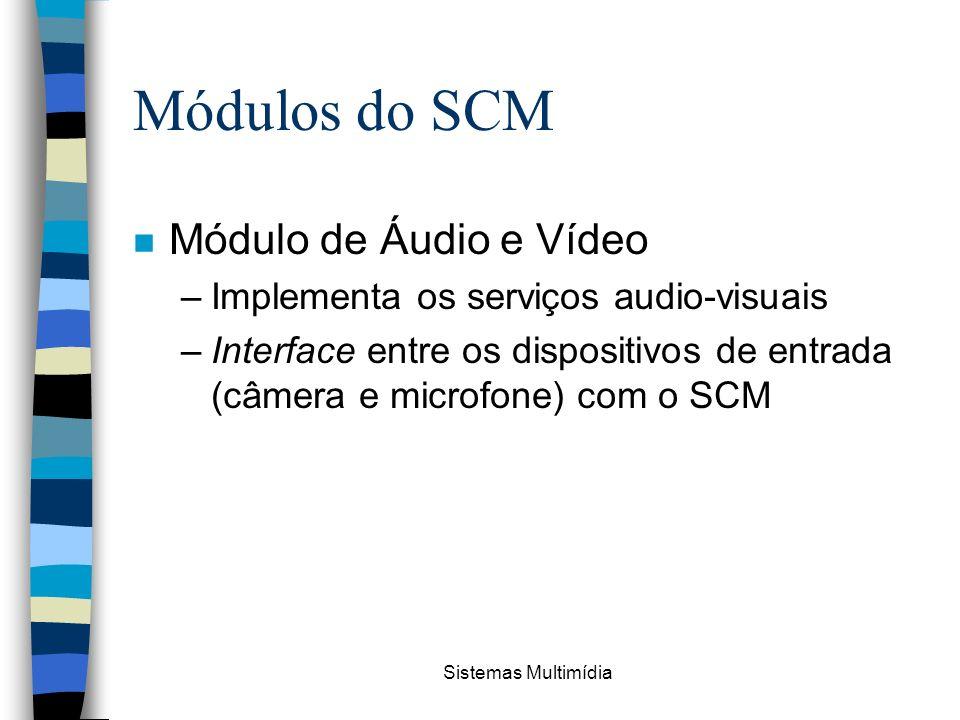 Sistemas Multimídia Módulos do SCM n Módulo de Áudio e Vídeo –Implementa os serviços audio-visuais –Interface entre os dispositivos de entrada (câmera