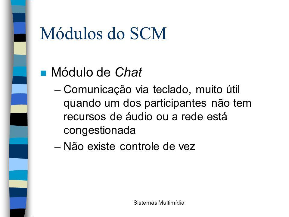Sistemas Multimídia Módulos do SCM n Módulo de Chat –Comunicação via teclado, muito útil quando um dos participantes não tem recursos de áudio ou a re