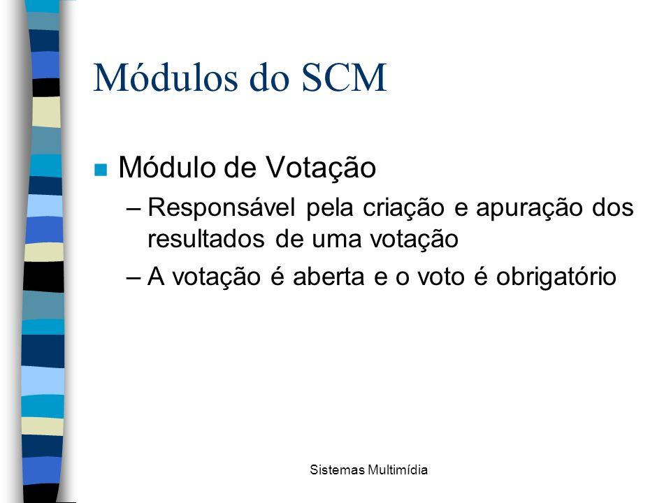 Sistemas Multimídia Módulos do SCM n Módulo de Votação –Responsável pela criação e apuração dos resultados de uma votação –A votação é aberta e o voto