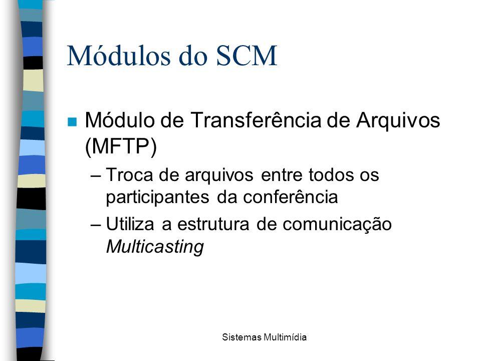 Sistemas Multimídia Módulos do SCM n Módulo de Transferência de Arquivos (MFTP) –Troca de arquivos entre todos os participantes da conferência –Utiliz