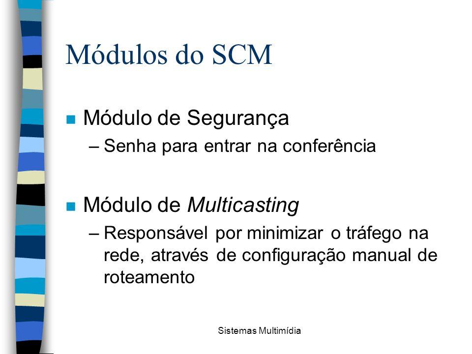Sistemas Multimídia Módulos do SCM n Módulo de Segurança –Senha para entrar na conferência n Módulo de Multicasting –Responsável por minimizar o tráfe