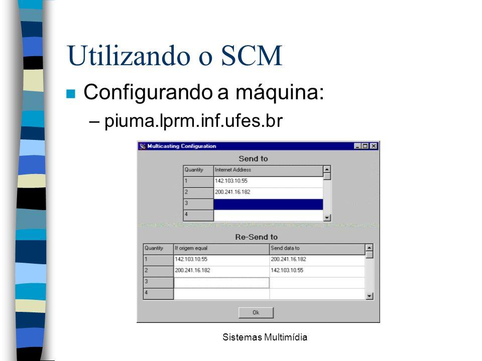 Sistemas Multimídia Utilizando o SCM n Configurando a máquina: –piuma.lprm.inf.ufes.br