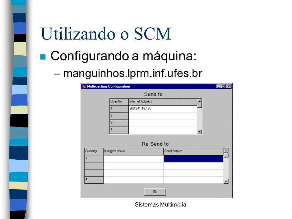 Sistemas Multimídia Utilizando o SCM n Configurando a máquina: –manguinhos.lprm.inf.ufes.br