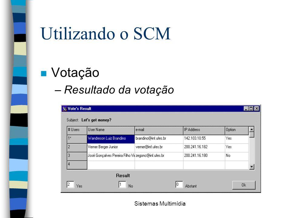 Sistemas Multimídia Utilizando o SCM n Votação –Resultado da votação