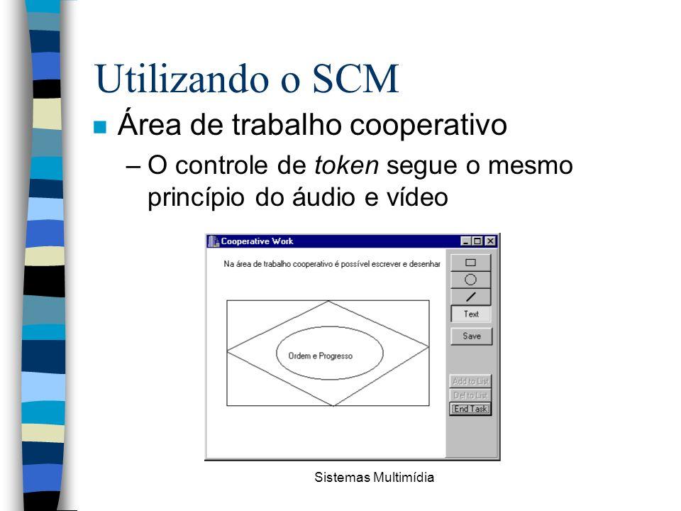 Sistemas Multimídia Utilizando o SCM n Área de trabalho cooperativo –O controle de token segue o mesmo princípio do áudio e vídeo