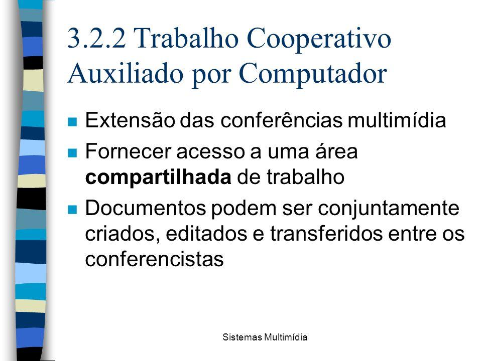 Sistemas Multimídia 3.2.2 Trabalho Cooperativo Auxiliado por Computador n Extensão das conferências multimídia n Fornecer acesso a uma área compartilh