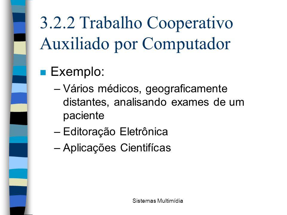 Sistemas Multimídia 3.2.2 Trabalho Cooperativo Auxiliado por Computador n Exemplo: –Vários médicos, geograficamente distantes, analisando exames de um