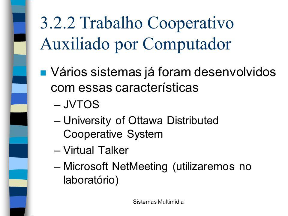 Sistemas Multimídia 3.2.2 Trabalho Cooperativo Auxiliado por Computador n Vários sistemas já foram desenvolvidos com essas características –JVTOS –Uni