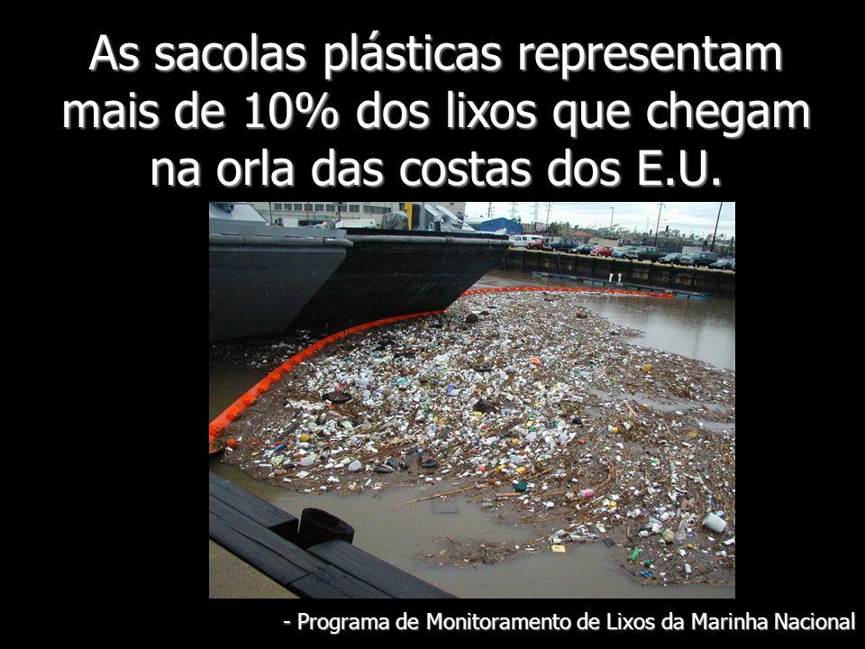As sacolas plásticas representam mais de 10% dos lixos que chegam na orla das costas dos E.U. - Programa de Monitoramento de Lixos da Marinha Nacional