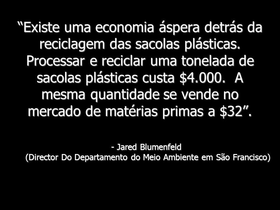 Existe uma economia áspera detrás da reciclagem das sacolas plásticas. Processar e reciclar uma tonelada de sacolas plásticas custa $4.000. A mesma qu