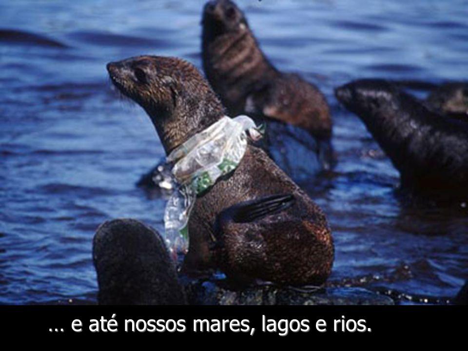 As sacolas encontram sua via até o mar nos esgotos e nos drenagens.