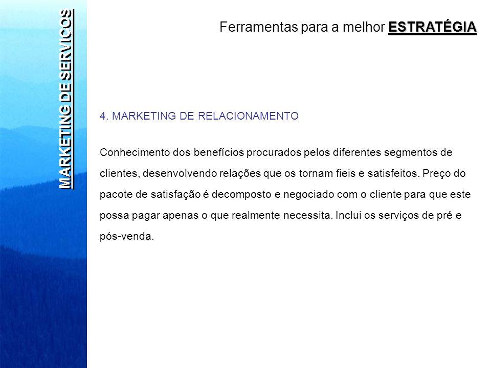 MARKETING DE SERVIÇOS 4. MARKETING DE RELACIONAMENTO Conhecimento dos benefícios procurados pelos diferentes segmentos de clientes, desenvolvendo rela