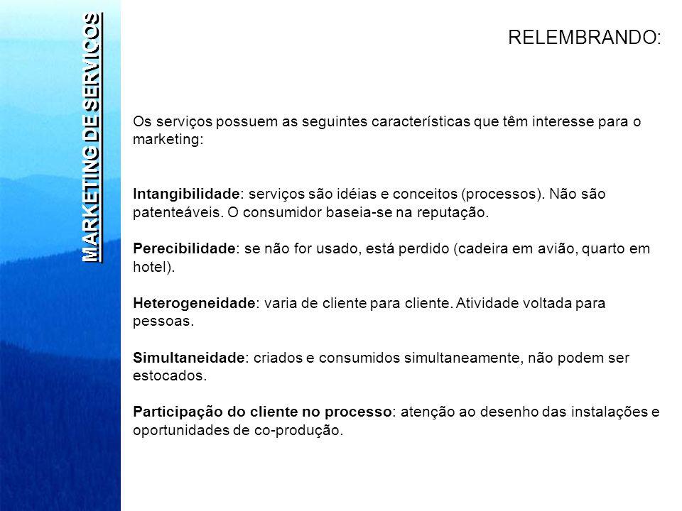 MARKETING DE SERVIÇOS Os serviços possuem as seguintes características que têm interesse para o marketing: Intangibilidade: serviços são idéias e conc