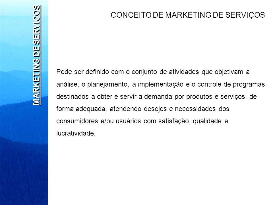 MARKETING DE SERVIÇOS CONCEITO DE MARKETING DE SERVIÇOS Pode ser definido com o conjunto de atividades que objetivam a análise, o planejamento, a impl