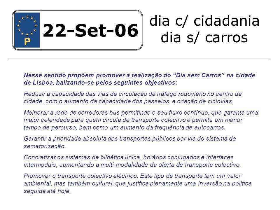 22-Set-06 dia c/ cidadania dia s/ carros 22-Set-06 Eliminar o estacionamento sobre os passeios prejudicando a circulação de peões.