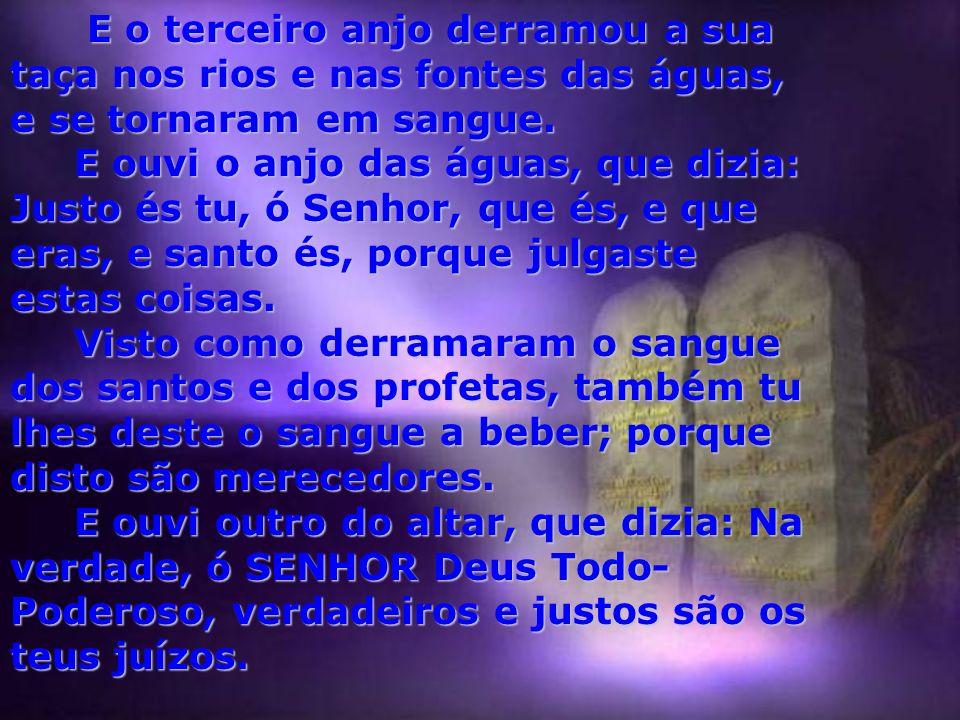 ...E OUVI, vinda do templo, uma grande voz, que dizia aos sete anjos: Ide, e derramai sobre a terra as sete taças da ira de Deus. E foi o primeiro, e