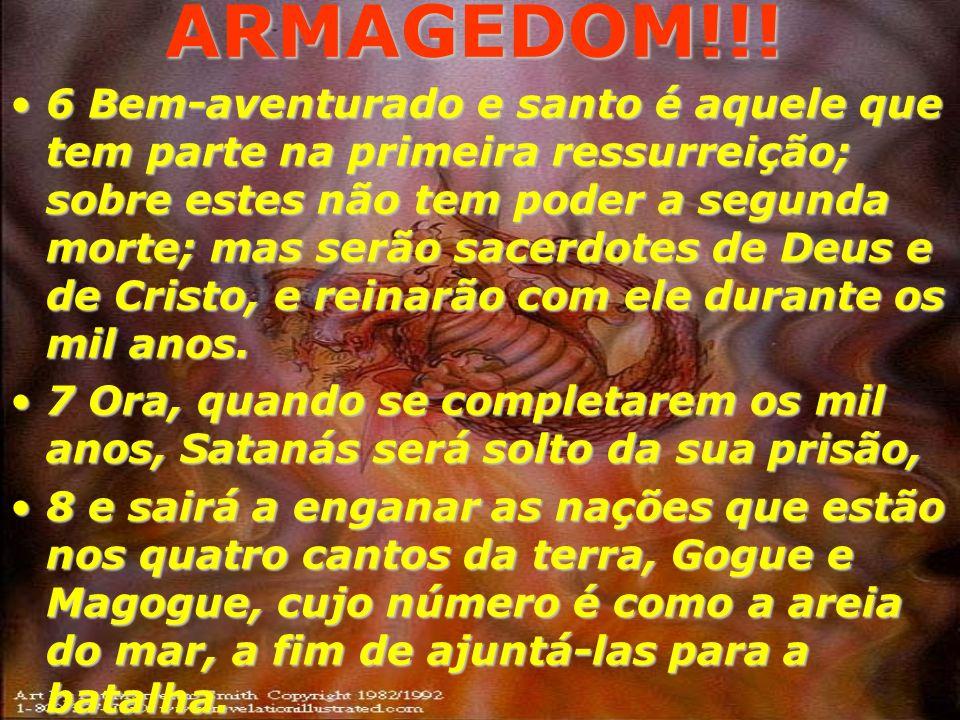 ARMAGEDOM!!! 4 Então vi uns tronos; e aos que se assentaram sobre eles foi dado o poder de julgar; e vi as almas daqueles que foram degolados por caus