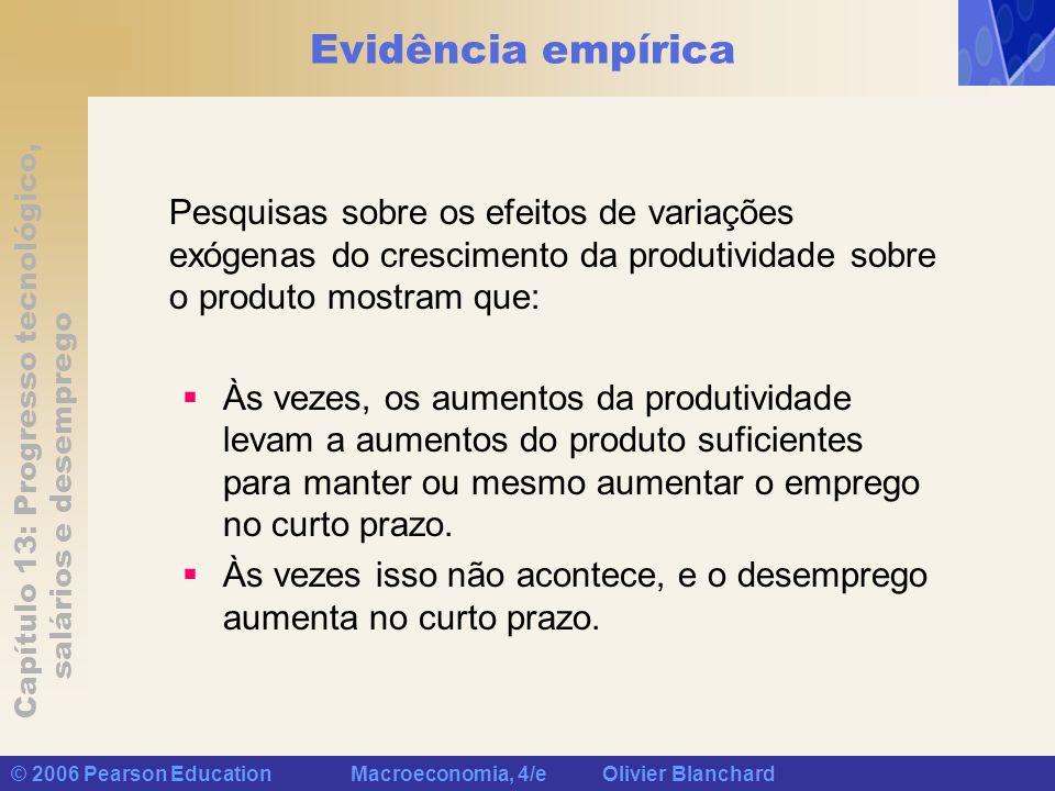 Capítulo 13: Progresso tecnológico, salários e desemprego © 2006 Pearson Education Macroeconomia, 4/e Olivier Blanchard Evidência empírica Pesquisas s