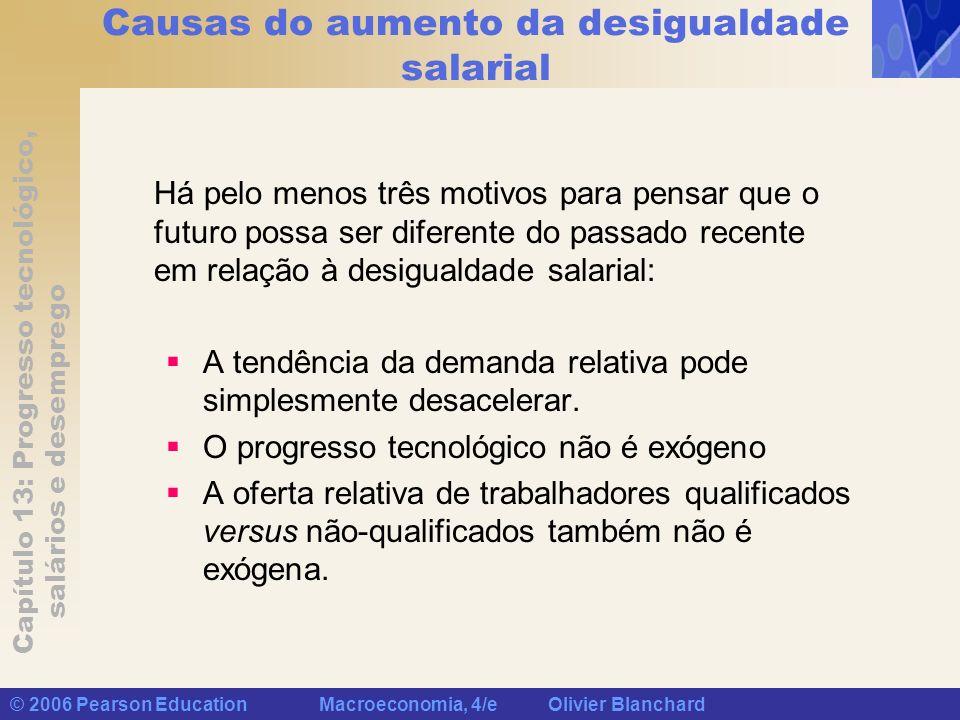 Capítulo 13: Progresso tecnológico, salários e desemprego © 2006 Pearson Education Macroeconomia, 4/e Olivier Blanchard Causas do aumento da desiguald