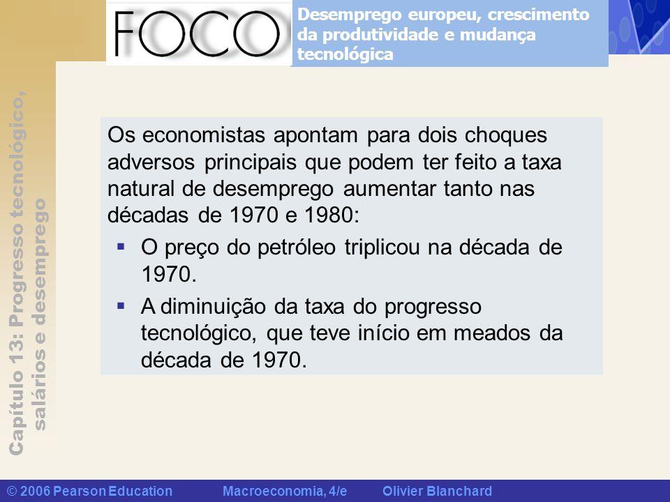 Capítulo 13: Progresso tecnológico, salários e desemprego © 2006 Pearson Education Macroeconomia, 4/e Olivier Blanchard Desemprego europeu, cresciment