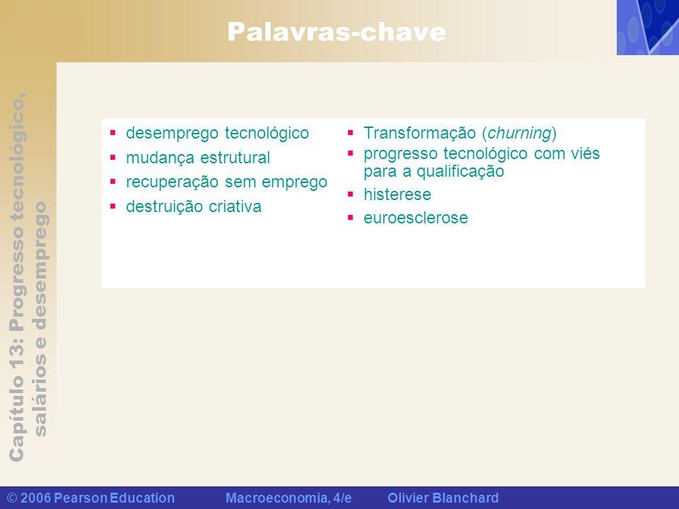 Capítulo 13: Progresso tecnológico, salários e desemprego © 2006 Pearson Education Macroeconomia, 4/e Olivier Blanchard Palavras-chave desemprego tecn