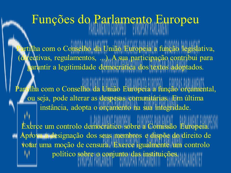 Partilha com o Conselho da União Europeia a função legislativa, (directivas, regulamentos,...). A sua participação contribui para garantir a legitimid