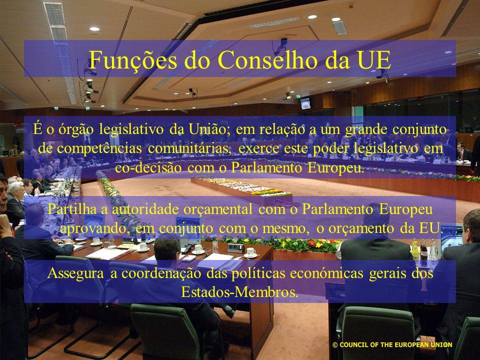 Funções do Conselho da UE É o órgão legislativo da União; em relação a um grande conjunto de competências comunitárias, exerce este poder legislativo