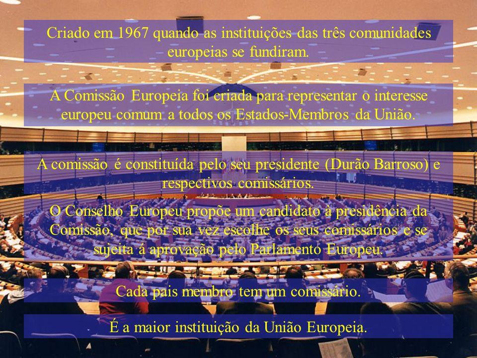 Criado em 1967 quando as instituições das três comunidades europeias se fundiram. A comissão é constituída pelo seu presidente (Durão Barroso) e respe