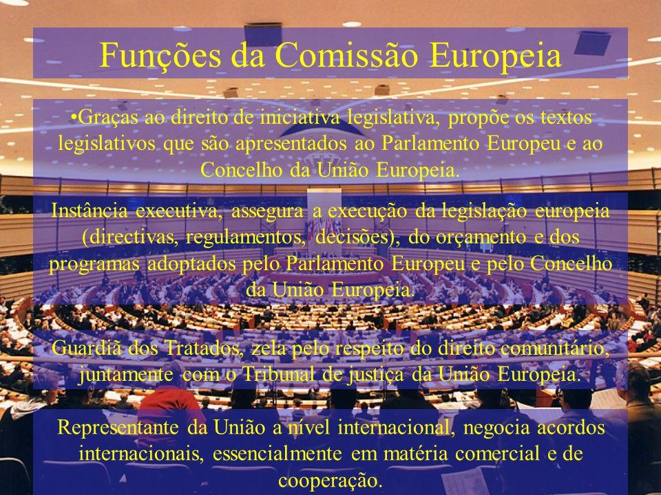 Funções da Comissão Europeia Graças ao direito de iniciativa legislativa, propõe os textos legislativos que são apresentados ao Parlamento Europeu e a