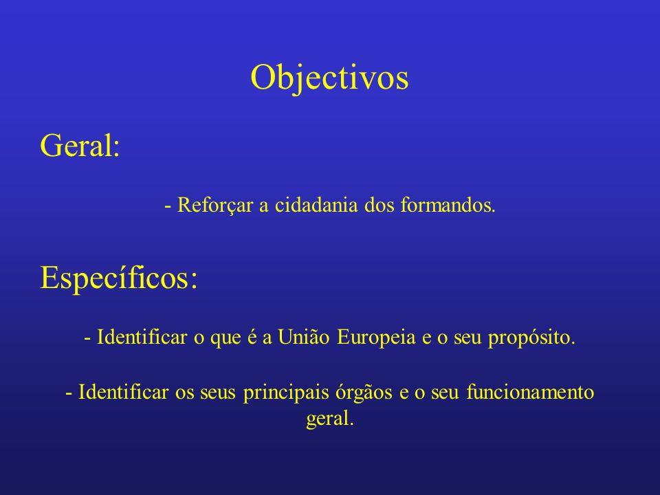 Objectivos Geral: - Identificar o que é a União Europeia e o seu propósito. - Reforçar a cidadania dos formandos. Específicos: - Identificar os seus p