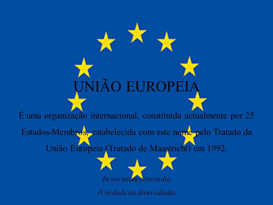 UNIÃO EUROPEIA É uma organização internacional, constituída actualmente por 25 Estados-Membros, estabelecida com este nome pelo Tratado da União Europ