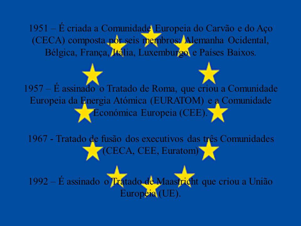 1951 – É criada a Comunidade Europeia do Carvão e do Aço (CECA) composta por seis membros: Alemanha Ocidental, Bélgica, França, Itália, Luxemburgo e P