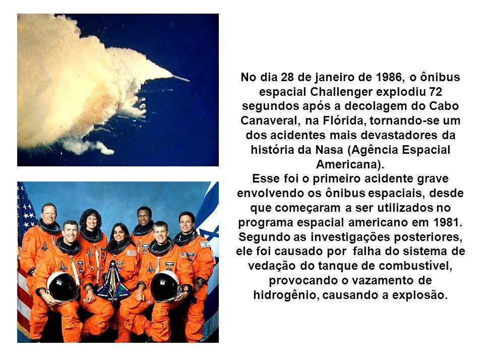 No dia 28 de janeiro de 1986, o ônibus espacial Challenger explodiu 72 segundos após a decolagem do Cabo Canaveral, na Flórida, tornando-se um dos aci