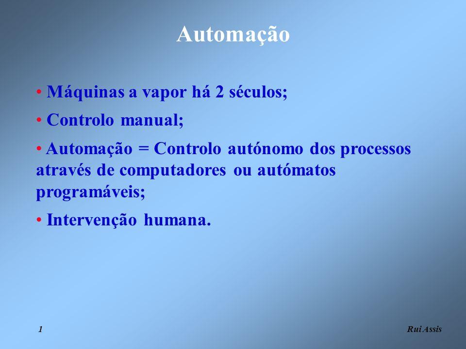 Rui Assis 1 Automação Máquinas a vapor há 2 séculos; Controlo manual; Automação = Controlo autónomo dos processos através de computadores ou autómatos