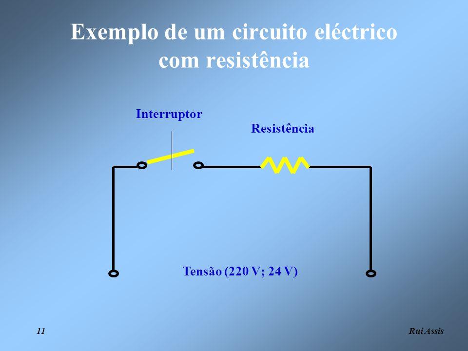Rui Assis 11 Tensão (220 V; 24 V) Resistência Interruptor Exemplo de um circuito eléctrico com resistência