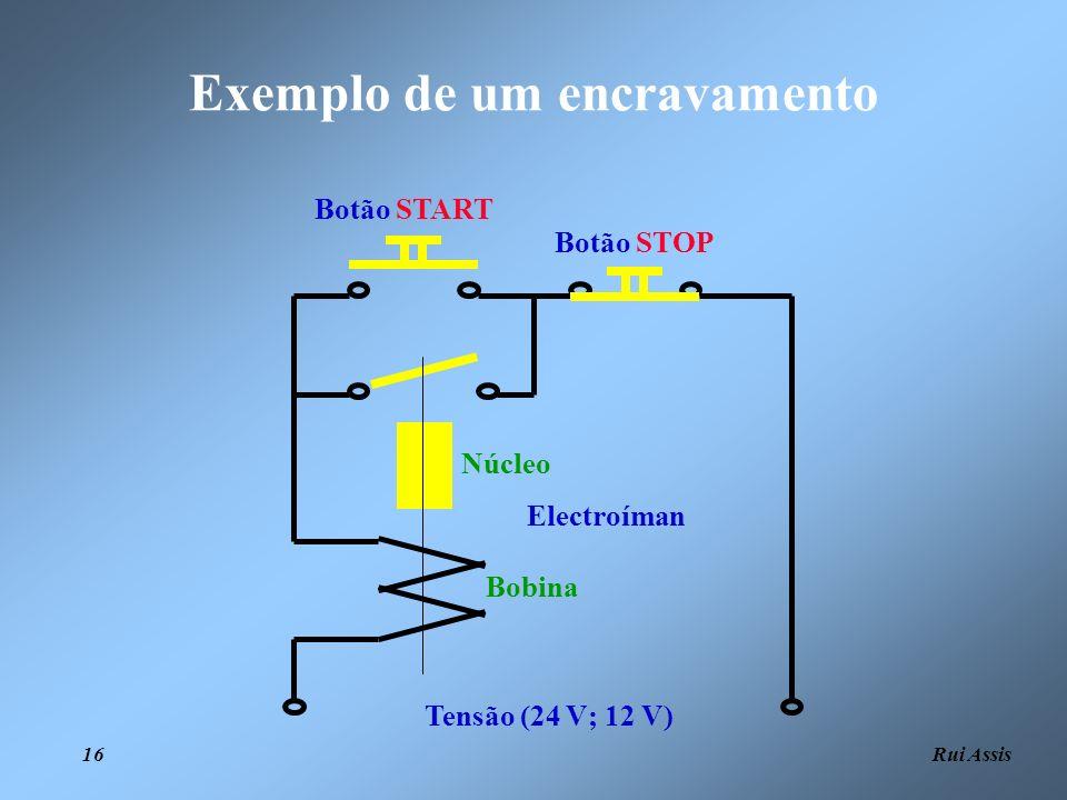 Rui Assis 16 Exemplo de um encravamento Tensão (24 V; 12 V) Botão STOP Botão START Electroíman Bobina Núcleo