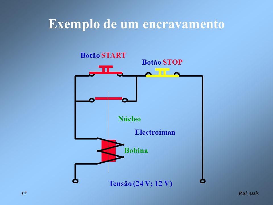 Rui Assis 17 Exemplo de um encravamento Tensão (24 V; 12 V) Botão STOP Botão START Electroíman Bobina Núcleo