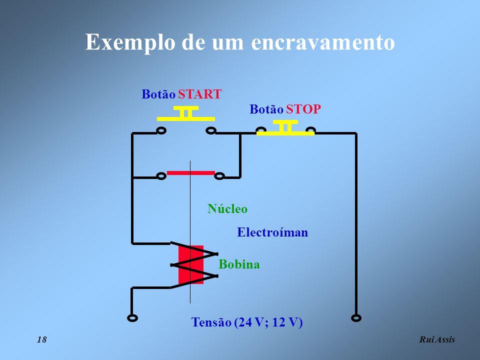 Rui Assis 18 Exemplo de um encravamento Tensão (24 V; 12 V) Botão STOP Botão START Electroíman Bobina Núcleo
