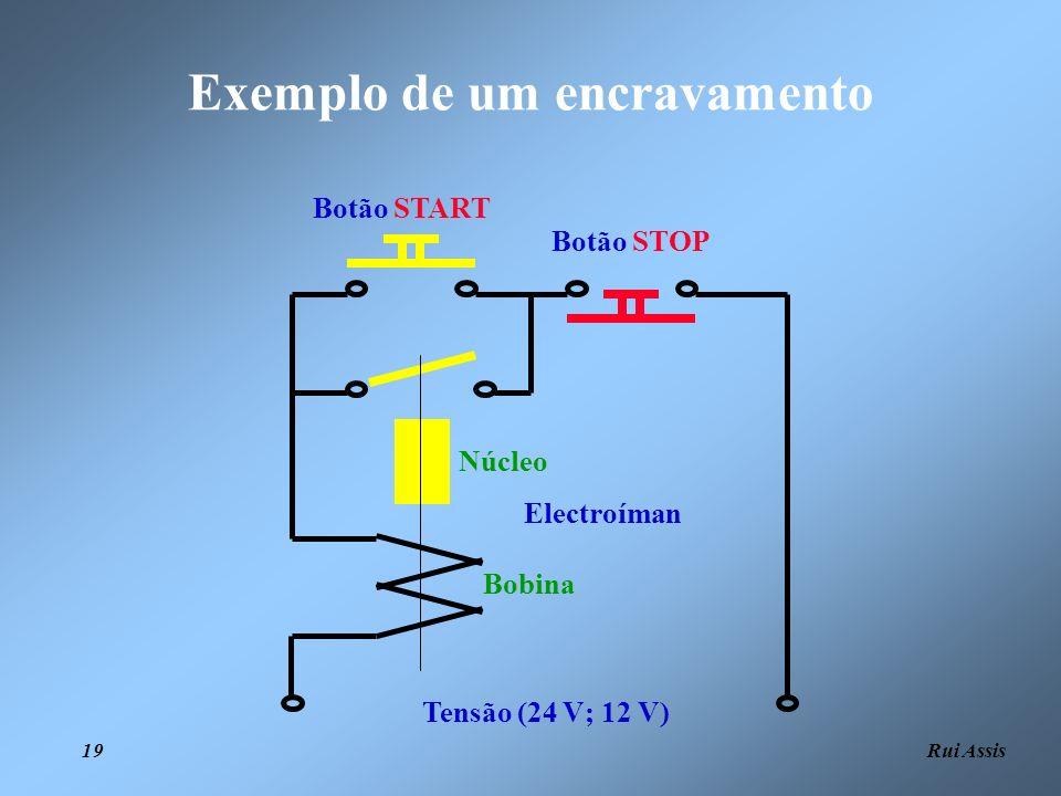 Rui Assis 19 Exemplo de um encravamento Tensão (24 V; 12 V) Botão STOP Botão START Electroíman Bobina Núcleo