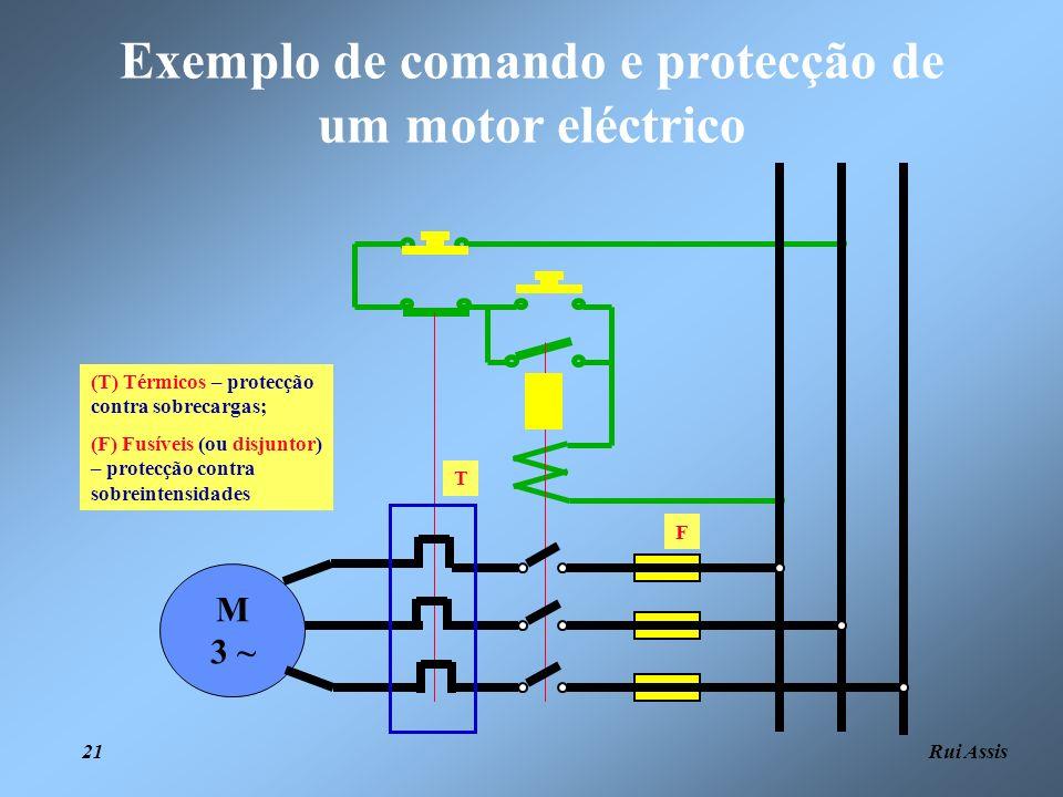 Rui Assis 21 Exemplo de comando e protecção de um motor eléctrico M 3 ~ (T) Térmicos – protecção contra sobrecargas; (F) Fusíveis (ou disjuntor) – pro