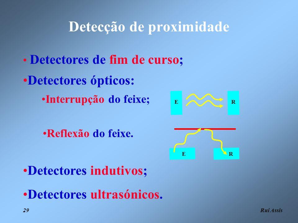 Rui Assis 29 Detecção de proximidade ER RE Detectores de fim de curso; Detectores ópticos: Interrupção do feixe; Detectores indutivos; Detectores ultr
