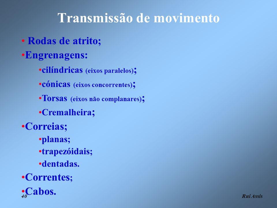 Rui Assis 40 Transmissão de movimento Rodas de atrito; Engrenagens: cilíndricas (eixos paralelos) ; cónicas (eixos concorrentes) ; Torsas (eixos não c