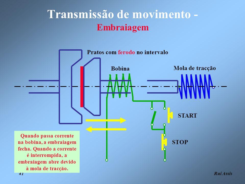 Rui Assis 41 Transmissão de movimento - Embraiagem Bobina START STOP Mola de tracção Pratos com ferodo no intervalo Quando passa corrente na bobina, a