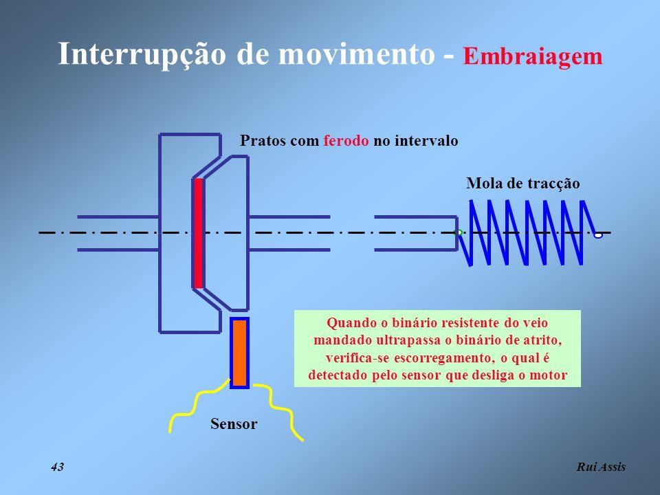 Rui Assis 43 Interrupção de movimento - Embraiagem Mola de tracção Pratos com ferodo no intervalo Quando o binário resistente do veio mandado ultrapas