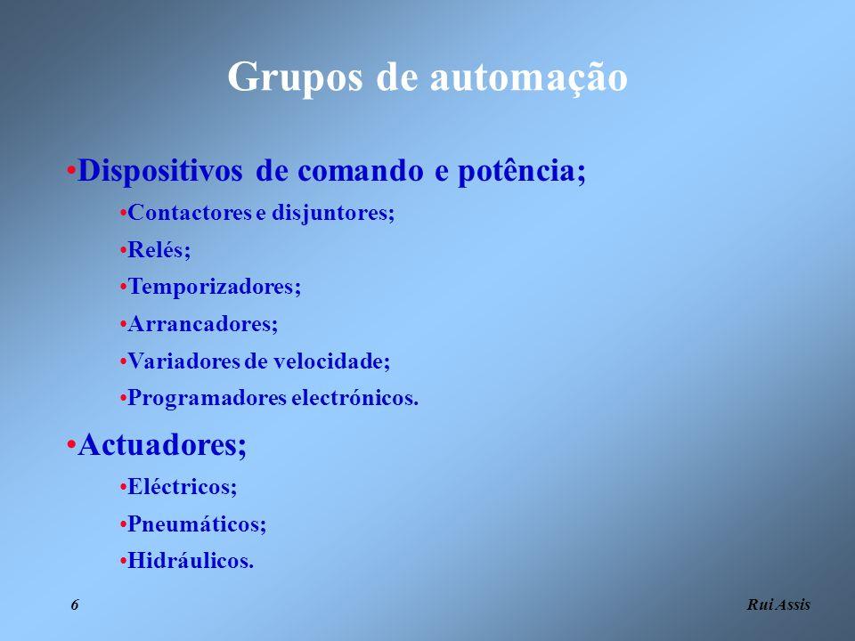 Rui Assis 6 Grupos de automação Dispositivos de comando e potência; Contactores e disjuntores; Relés; Temporizadores; Arrancadores; Variadores de velo