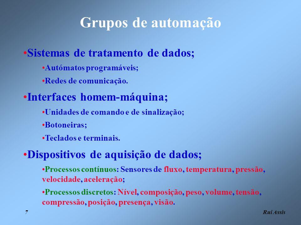 Rui Assis 7 Grupos de automação Sistemas de tratamento de dados; Autómatos programáveis; Redes de comunicação. Interfaces homem-máquina; Unidades de c